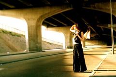 Black angel (Ali K.) Tags: light woman black lady angel dress robe femme alexandra autoroute lev ombrelle httpalikaragoznet
