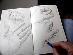 My Left Hand (Laurie York) Tags: moleskine pencil hand drawing drawings exploreinterestingness series lefthand quartet
