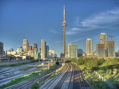 Tracks/Cityscape (kevbo1983) Tags: street bridge toronto ontario canada skyline wow downtown cityscape cntower tracks railway multipleexposure cranes condos bathurst hdr photomatix cotcmostinteresting cotcmostfavorited kevbo1983