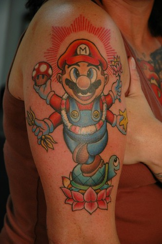Hindu Mario! Hindu Mario tattoo source: artfisch