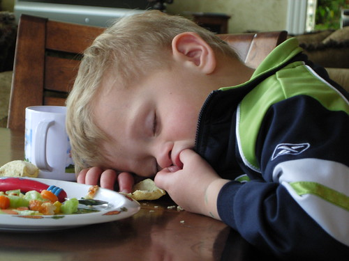 Falling asleep at the table