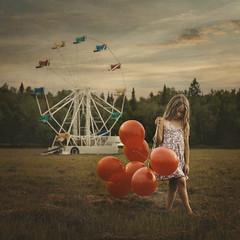 When the Carnival's Over (Robin Macmillan) Tags: red field balloon ferriswheel fineartphotography robinmacmillan