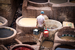 Filling the pools (Hugo Carvoeira) Tags: brown white colors leather work pigeon hard bad clean morocco fez poop smell medina environment worker dye marruecos fes prepare caustic dung marrocos stench tannery pelt chouara
