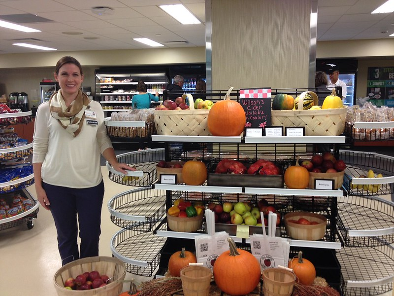 Beth Fielder in the Compass Express with local goods