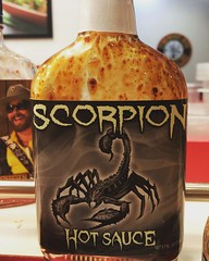 Scorpion Hot Sauce (booboo_babies) Tags: food square scorpio scorpion squareformat hotsauce astrology hotstuff lark iphoneography instagramapp uploaded:by=instagram
