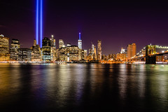 Tribute in Lights (gloriabcastro) Tags: nyc newyorkcity longexposure skyline 911 tributeinlight