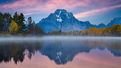Majestic Mount Moran (Jerry Fornarotto) Tags: park morning travel blue autumn sky mountain color reflection fall tourism nature water beautiful sunrise river season landscape dawn scenery colorful bright bend outdoor snake scenic nopeople calm foliage national wyoming mountmoran oxbow wy grandtetonnationalpark tetonnationalpark tetonnp jerryfornarotto