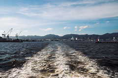 Kobe, July 2015 (pilenz) Tags: travel blue sea summer vacation sky mountains wet water japan clouds port boat warm waves tour wind kobe