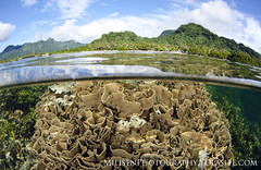 Kosrae over under (Jeff Milisen) Tags: nature clouds island natural pacific lagoon remote reef cora micronesia overunder kosrae
