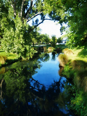 In the Morning Light (Steve Taylor (Photography)) Tags: art digital house green blue black yellow white water river newzealand nz southisland canterbury christchurch cbd city tree leaves grass reflection silhouette spring sky sunny sunshine avon still calm tranquil