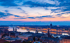 _MG_8268_web - Sunrise meeting point over Budapest (AlexDROP) Tags: 2016 hungary budapest travel bridge panoramic architecture color city skyline urban light night scape bluehour canon6d ef241054lis best iconic famous mustsee picturesque postcard hdr