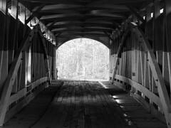 Inside A Burr Arch Truss Covered Bridge (Jayhawk Explorer) Tags: ipiccy bw bridge coveredbridge burrarchtruss inside wooden narrowscoveredbridge sugarcreek narrowsroad turkeyrunstatepark parkecounty indiana in roadtrip 1883 nationalregisterofhistoricplaces coveredbridgeexcursion