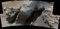 Smooth Surrounded by Rough, variant (sjrankin) Tags: 22january2017 edited nasa mars msl curiosity galecrater panorama rough smooth rocks