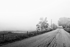 Vermont Scenic (Geoffrey Coelho Photography) Tags: vermont rural landscape fog foggy blackandwhite farm road backroads scenic stowe stark contrast farms agriculture agricultural barn barns rustic america americana