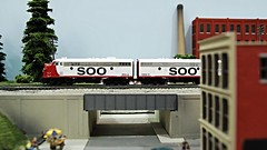Soo Line F-7s through Burlington, WI (Laurence's Pictures) Tags: mad city model train show wisconsin madison rail railraod hobby locomotive engine ho scale