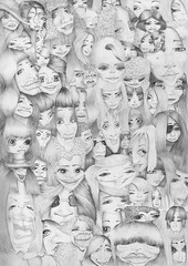 Headcount (Klaas van den Burg) Tags: faces drawing sketch pencil portrait people blackandwhite monochrome surreal cartoon illustration whitebackground sketching sketches creative creation concept conceptual portraits absurdism