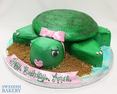 Sculpted Turtle (Swedish Bakery Chicago) Tags: pink green cakes cake turtle bow sculpted buttercream swedishbakery