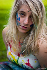 Messy Paint Portrait (Jon W. Howson) Tags: park uk blue red summer portrait england woman green girl beauty yellow lady female photography woods jon paint afternoon outdoor south sheffield yorkshire skirt blonde colourful tulle splatter tutu southyorkshire tulleskirt portraitphotography howson eccelsall jowaho jonhowson jonhowsonphotography