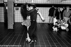 SubwaySalsa(NYC) (bigbuddy1988) Tags: city nyc portrait people bw usa ny newyork art film analog 35mm underground subway photography nikon kodak tmax manhattan flash 35mmfilm tmax400 vivitar nikonfm2 fm2 strobe vivitar283