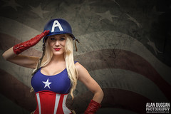 Captain America - Cosplay. (DugieUK) Tags: portrait beautiful female america photoshop star model comic cosplay stripes flag helmet patriotic gloves american captain kristen corset patriot comiccon blackpool con lightroom hughey