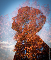 Nature Girl (mgstanton) Tags: autumn trees fall silhouette canon woods doubleexposure profile canon70d