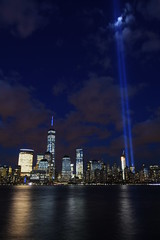 9-11 Tribute In Light 06 (Amaury Laporte) Tags: newyorkcity favorite usa newyork unitedstates 911 landmarks northamerica tributeinlight memorials september11memorial favorite2015