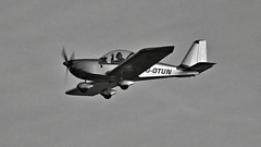 Look, no hands! (Dave-Mcclean 67) Tags: hello light sky bw beach club plane one mono see fly flying aircraft low wave aeroplane landing eyeball hi spotted waving buzzed seen kilkeel mourne flyby buzzing flypast seater eyeballed otun