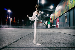 """""""...and Things come alive"""" (helmet13) Tags: woman fashion promotion night poster parkinglot streetlight nightshot doubleexposure supermarket nocturne windowshopping nightwear aoi 100faves peaceaward heartaward world100f leicaxvario"""