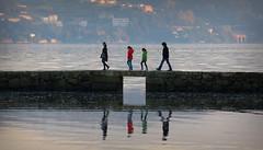 Path (andreaalonso96) Tags: ocean bridge family shadow sea naturaleza reflection nature familia spain agua colours path perspective line galicia reflejo ritmo rithm vilaboa
