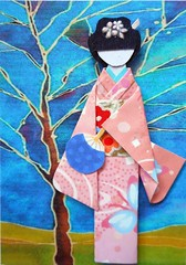 ATC1300 - Under the blue sky (tengds) Tags: pink flowers blue red brown tree atc artisttradingcard asian japanese fan butterflies bluesky kimono obi origamipaper artcard papercraft japanesepaper washi ningyo handmadepaper handmadecard chiyogami designprint yuzenwashi japanesepaperdoll nailsticker origamidoll kimonodoll nailartsticker tengds