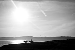 Surfers, Hell's Mouth. (Josh Brammeld) Tags: black white sillhouette surfers surfing wales beach north sony alpha a550 landscape