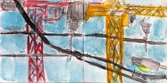 schneller als Bambus wuchsen diese neuen hohen Häuser in den Himmel. Ob dessen Schöpfer das gut heißen würde (raumoberbayern) Tags: sketchbook skizzenbuch tram munich bus strasenbahn pencil bleistift ballpoint paper papier robbbilder stadt city landschaft landscape spring frühling summer sommer lake trip bavaria germany airport auto car crane kran baustelle constructionarea münchen