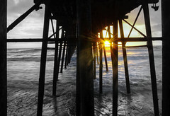 A promising tomorrow (slickaclick_photography) Tags: beach pier water blackwhite colors monochrome sunset
