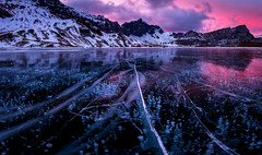 Art on ice II (Brunzolini) Tags: melchsee frutt schweiz switzerland kerns mountain alps swiss lake ice cold crack bubbles sunset alpine bergsee eis klar clear schwarzeis winter christmas december clouds bergkette berge
