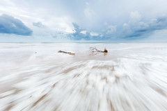 Escaping the rush (Louise Denton) Tags: sticks driftwood logs tree blue longexposure water rushing waves tide leepoint darwin nt northernterritory wetseason monsoonal beach sand