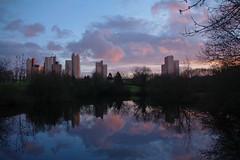 ciel du soir -parc des Ulis. (jmsatto) Tags: tours cieldusoir couleurs étange reflets arbres essonne nuages