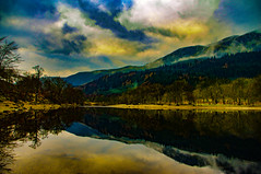 Trossachs Dreams (Brian Travelling) Tags: trossachs lightroom stirlingshire scotland scenery scenic scottish scots mountains mountain serene serenity setting reflection reflections reflecting reflect glass mirror sky clouds water waterscape pentaxkr pentax peaceful pentaxdal