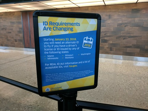 RealID notice, TSA pre-check line, Dulles Airport, Washington, DC, USA