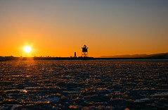 2017 Day 14 (Travis Anderson 30) Tags: sunset orange lighthouse cold grandmarais minnesota northcoast ice frozen 365 project365