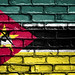 National Flag of Mozambique on a Brick Wall
