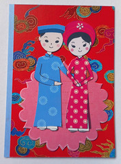 ATC1329 - Vietnamese couple (tengds) Tags: atc artisttradingcard artcard handmadecard card collage vietnamese vietnamesecouple red blue oink aodai nailartsticker nailsticker papercraft tengds