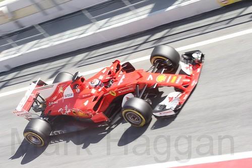 Kimi Raikkonen in his Ferrari during Formula One Winter Testing 2017