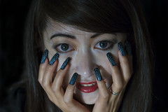 Blue Contacts (Chris-Creations) Tags: mei scary headshot girl woman eyecontact halloween lowkey pretty chinese asian feminine femme fille attractive sweet cute beauty lovely amateur wife gorgeous beautiful glamour hair 女孩 女人 mujer niña 性感 женщина esposa petite 妻子 uñas manos cara ojos ojazos lady 20041030220 people portrait face