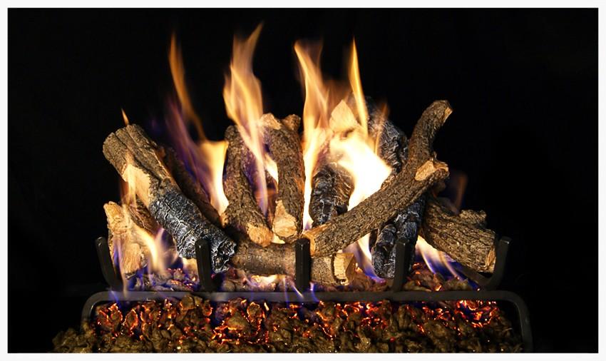 Peterson Charred Oak Stack gas log set