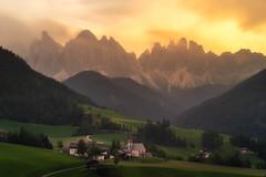 Val Di Flames (albert dros) Tags: sunset italy mountains landscapes churches burningsky dolomites rockformations valdifunes vilnoss albertdros