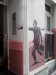 Klingel (onnola) Tags: streetart man berlin rose kreuzberg germany deutschland graffiti mural bell suit mann gwb anzug klingel guesswhereberlin guessedberlin fassadenmalerei gwbschlafauto