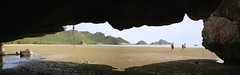 To reach the cave we took a longtail boat trip (Bn) Tags: park trip shadow vacation panorama holiday beach strand forest thailand island pier boat sand rocks shadows village hiking path wandelen tide low small hike climbing national cave crabs topf100 longtail province eb phrayanakhon bangpu 100faves prachuapkhirikhan khaosamroiyot laemsala