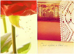 Roses and Fairytales (mintukka) Tags: red roses stilllife texture rose fairytale vintage stars book petals diptych lace redrose books magical dippy antiquebooks