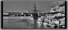 St Petersburg,Russia. (williamwalton001) Tags: blackandwhite boats buildings barges monochrome architecture dockbay