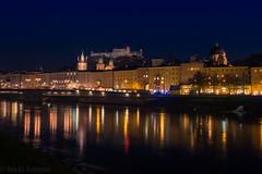 Salzburg, Austria (nikkiashton922) Tags: reflection salzburg castle night river austria sterreich fortress salzach festunghohensalzburg